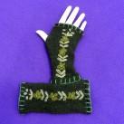 Green Flower Fingerless Gloves