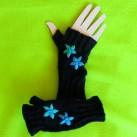 Black Ribbed Fingerless Gloves